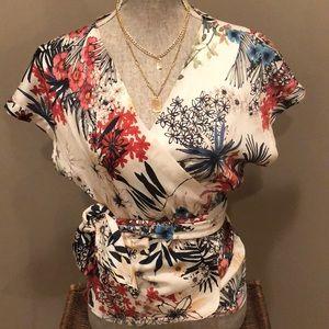 Beautiful Zara floral wrap blouse Sz Small